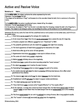 Active and Passive Voice Differentiated Worksheets