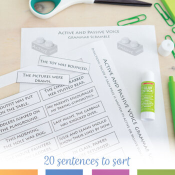 Active and Passive Voice Interactive Notebook Pieces and Scramble