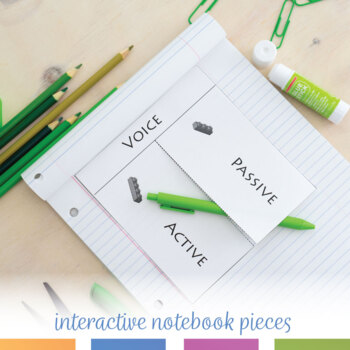 Active and Passive Voice Interactive Notebook Pieces and Sort