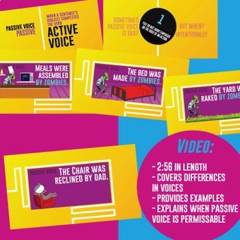 Active and Passive Voice Multimedia Unit: Video, Task Cards, Scramble