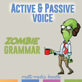 Distance Learning: Digital Active and Passive Voice: Video, Task Cards, Scramble