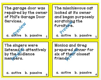 Active and Passive Voice Task Cards - Common Core Aligned