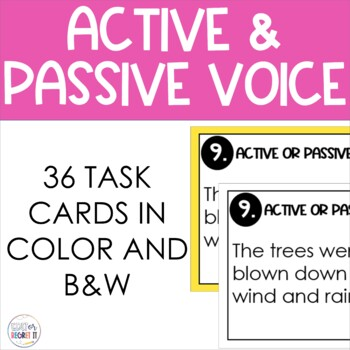 Active and Passive Voice Task Cards with ANSWER KEY!