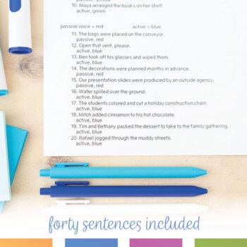 Active and Passive Voice Winter Coloring Sheet and Grammar Activity