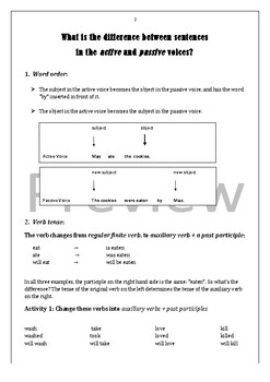 Active and Passive Voice Workbook + Answer Key