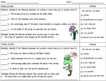 Active and Passive Voice Zombie Freebie Worksheet