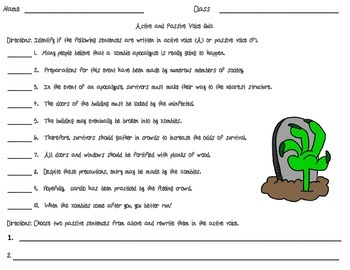 Active and Passive Voice Zombie Freebie Worksheet by Mastering ...