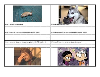Active and Passive Voice and Verb Mood Meme Activity