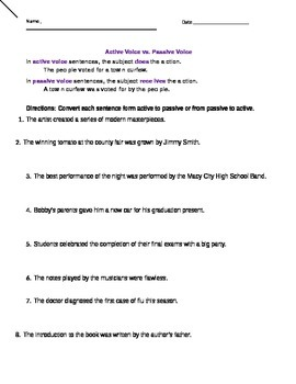 Active and Passive Voice worksheets