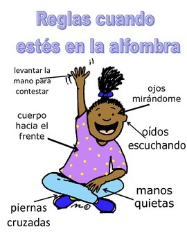 Active listening rules poster (in Spanish)