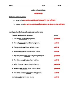 Active or Passive Voice Worksheet