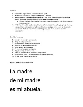 Active practice: Spanish family riddles