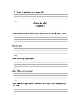 Active reading questions for chapters 1-7 Call of the Wild
