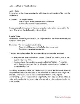 Active vs. Passive Voice Sentences