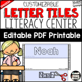 Name Recognition with Letter Tiles. Low Prep Literacy Center; Editable {Spanish}