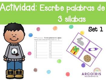 Actividad: Escribe palabras de 3 silabas- Set 1 (Spanish)