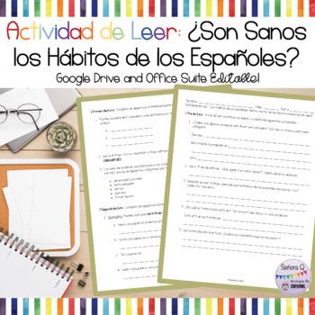 Actividad/Prueba de Leer: ¿Son Sanos los Hábitos de los Españoles?