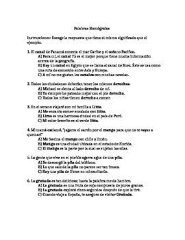 Actividad de Homófonos y Homógrafos (Homographs and Homophones Worksheet)