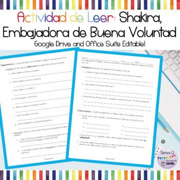 Actividad de Leer - Shakira: Embajadora de Buena Voluntad de UNICEF