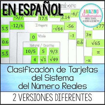 Actividad de la Clasificación de Tarjetas del Sistema del Numero Reales