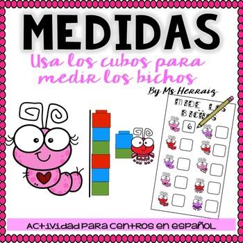 Actividad de medidas con cubos y bichos. Estación de San Valentín en español.
