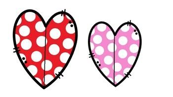 Actividad de medidas con cubos y corazones. Estación de San Valentín en español.