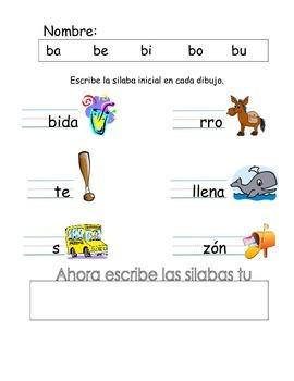 Actividad de silabas