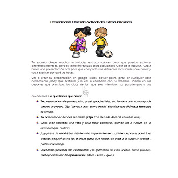 Actividades Extracurriculares Project- Extracurricular Activities (Realidades 2)