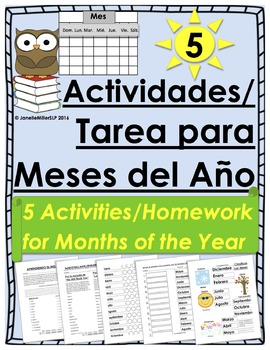 Actividades/Tarea para Meses del Año en español (Months of Year in Spanish)