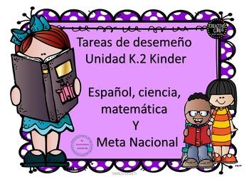 Tareas de desempeño Unidad K.2 Kinder Integrado