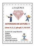 A3 (d) Actividades de Lectura 5 letras H, LL, Z, Y, X, güe