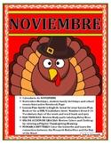 November No Prep Interactive Lessons- Spanish Calendar/Thanksgiving Theme