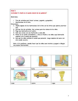 Actividades de fonética del español para kinder y primer grado