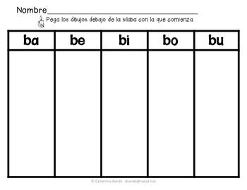 Actividades de las silabas