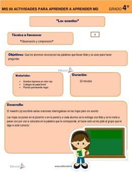 Actividades para Aprender a Aprender Primaria Cuarto Grado
