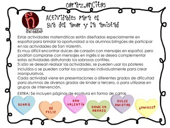 Spanish Valentine's Day Math and Writing - Actividades Día