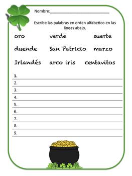 Actividades para el día de San Patricio/St. Patrick's Day activities