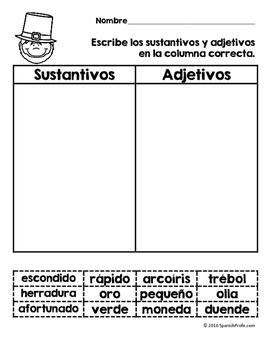 Actividades y escritura para marzo y San Patricio (Activities in Spanish)