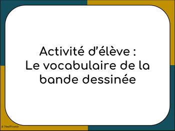 Activité d'élève - Vocabulaire de la bande dessinée