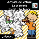 Activité de lecture Lis et colorie - Thème: l'automne