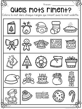 Activités SANS PREP! Noël - FRENCH No-Prep Christmas Math & Literacy Bundle