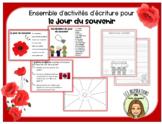 Activités d'écriture pour le Jour du souvenir FRENCH Remem