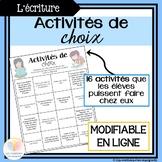 Activités de choix: Distance Learning || FRENCH Activity C