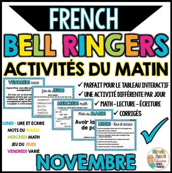 Activités du matin - NOVEMBRE - French Bell Ringers