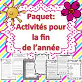 Fin d'année - Activités -- **BUNDLE**. (Distance Learning)