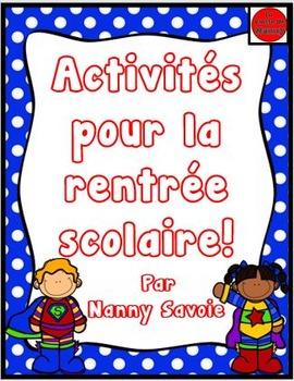 Activités pour la rentrée scolaire