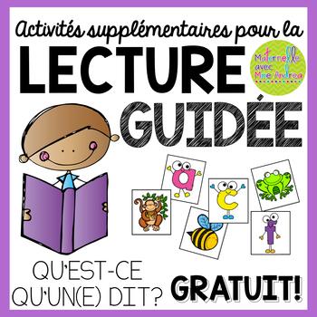 Activités supplémentaires pour la lecture guidée - QU'EST-CE QU'UN(E)...DIT?