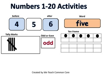 Activites with Numbers 1-20 Math Center Activity Go Math