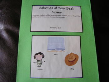 FREE: Activities At Your Seat: Nouns
