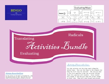 Activities Bundle: Radicals, Evaluating Expressions and Translating Expressions